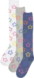 Memoi Girls Multi Lurex Star Knee Sock - MKF-7055