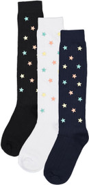 BlinQ Girls Ribbed Multi-Color Stars Knee Socks - 307