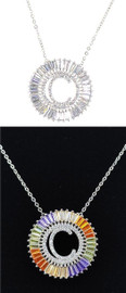 DH Jewelry Round Crystal Diamond 'C' Initial Necklace - N007-C