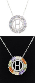 DH Jewelry Round Crystal Diamond 'H' Initial Necklace - N007-H