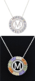 DH Jewelry Round Crystal Diamond 'M' Initial Necklace - N007-M