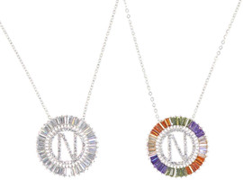 DH Jewelry Round Crystal Diamond 'N' Initial Necklace - N007-N