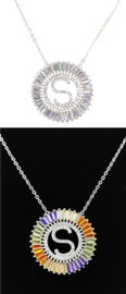 DH Jewelry Round Crystal Diamond 'S' Initial Necklace - N007-S