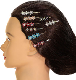 Riqki Jewel Flower Hair Clip - BPS-2945-Silver