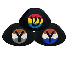 Yarmulka w/ Vinyl - Initial In Wavy 3 Colorblock Circle