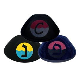 Yarmulka w/ Vinyl - Initial In Wavy 2 Colorblock Circle