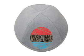 Yarmulka w/ Vinyl - Name in Multicolored Circle