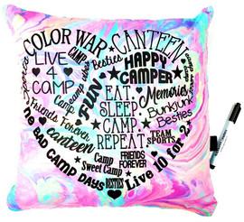 Bunk Junk Marble Camp Heart Graffiti Autograph Pillow - BJ935