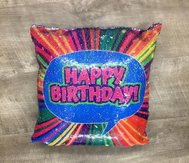 Bunk Junk Happy Birthday Reversible Sequin Pillow - SP5