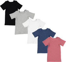 Delore Baby Toddler Boys Girls Unisex Short Sleeve Diagonal Ribbed T-Shirt - DE-1608T