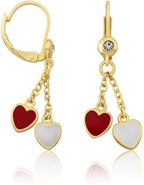 LMTS Girls Red/White Enamel Hearts Lariat Leverback Earrings - ER6344B-R-GP