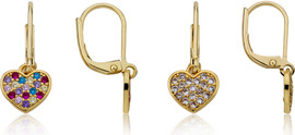 LMTS Girls Multicolor CZ Filled Star Dangle Earring - ER6844B-GP