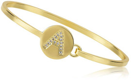 LMTS Girls Gold Plated Initial Disc Bangle A-Z - BN0785B-GP