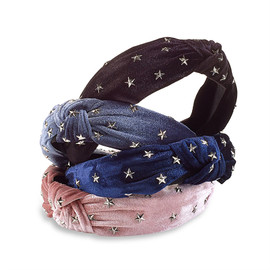 Top Trenz Girls Metal Star Stud Knot Headband - KNOTHB4-STUD