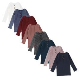 Lil Legs Girls Long Sleeve Center Button Henley Ribbed T-shirt