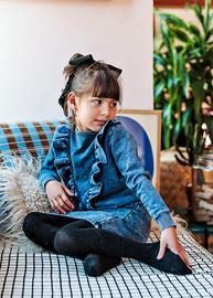 Analogie by Lil Legs Girls Denim Ruffle Sweatshirt Dress