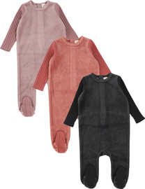 Analogie by Lil Legs Boys Girls Unisex Baby Velour Wide Rib Sleeve Stretchie