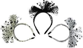 Dacee Tulle Velvet Polka Dots Bow Headband - C1436