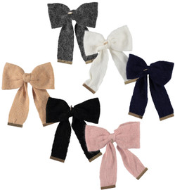Dacee Mohair Knit Bow Large Clip - AL1434