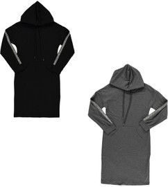 BGDK Womens Embellished Sleeve Cotton Hoodie Dress - SE-611