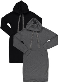 BGDK Womens Embellished Cotton Hoodie Dress - SE-604