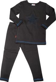 Blinqi Shredded Shapes Pajama Set - Grey w/ Teal Star - BLQ-720-GT
