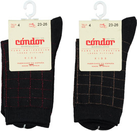Condor Boys Lurex Checked Crew Socks - 3872/4