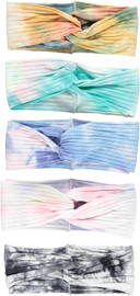 Riqki Tie Dye Womens Ribbed Knit Twisted Headband - 3040H
