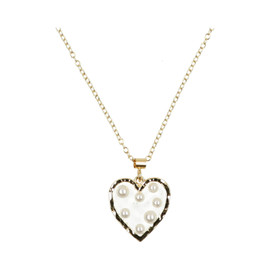 Tilyon Resin Heart W/Pearls Necklace - NK-3116