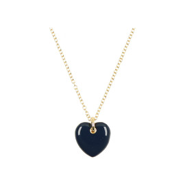 Tilyon Gold Edge Puffed Heart Necklace - NK-3117
