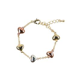 Tilyon Tricolor Puffed Hearts Bracelet - BR-1801-B