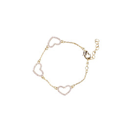 Tilyon Three CZ Hearts  Bracelet - BR-1806