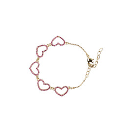 Tilyon CZ Hearts Connected Bracelet - BR-1807