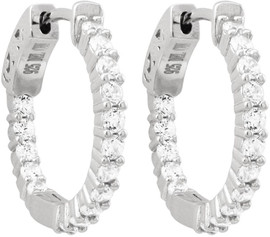 Silver Hoop Earrings with CZ Stones - 6EP550-SS-SR-Wht