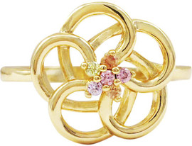 Gold Cutout Flower Ring - R4417-B-GD-LtMlt