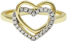 Overlapped Hearts Ring - 7R746-SS-TT-Wht
