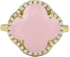 Rose Pink Clover Ring - 7R558-SS-GD-35