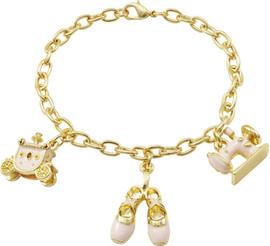 Pink Enamel Charms Bracelet - B4617-B-GD-Pnk