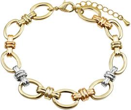 Tricolor Oval Link Bracelet - B4581-B-TRI