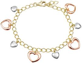 Tricolor Open Hearts Charm Bracele - 8B59-SS-TRI