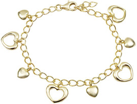 Gold Open Hearts Charm Bracelet - 8B59-SS-GD