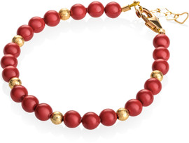 Crystal Dream Red Pearls with Gold Glitter Beads Bracelet - B1738-S