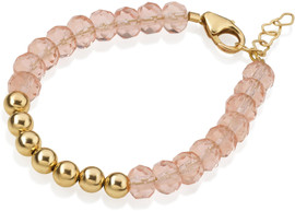 Crystal Dream Rose and Gold Bead Bracelet - B1917-S