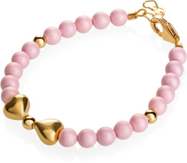 Pastel Rose Pearls & Gold Bow Bracelet - B1904-S