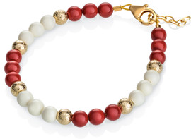 Red and Cream Pearl bracelet