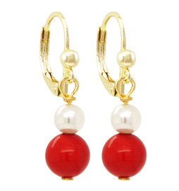 Red Ball & Pearl Earring - 3EW15741-SU-GD