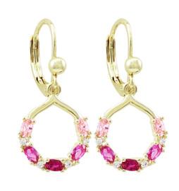 Pink CZ Drop Earring - 3EW4536