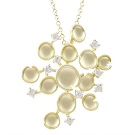 Matte Gold Abstract Pendant Necklace - 8PN281