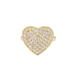 Gold CZ Heart Ring - 8R323-SS-GD