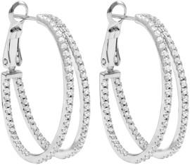 DluxJewels Hoop Earrings - 8EP327-SS-SR